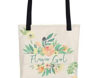 Flower Girl Tote Bag | Floral Wedding Tote | Personalized Bridal Tote Bag | Bridesmaid Tote | Custom Bridal Tote Bag | Wedding Day Tote Bag