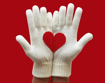 Red Heart Gloves, Christmas Gift for Her or Him, Valentine's Gift, Special Gif Romantic Gloves, Romantic Gift