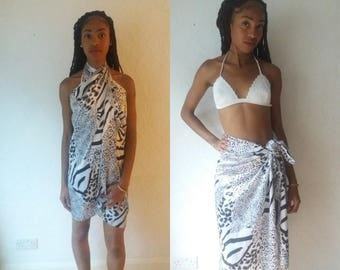White and Black Beach Sarong /over size shawl or scarf
