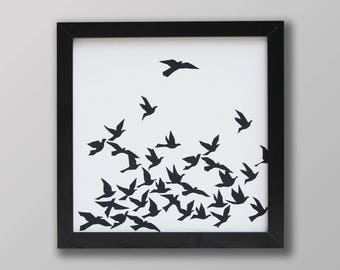 Birds in flight screen print picture
