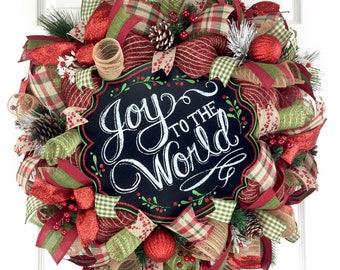 Christmas Mesh Wreath for front door / Christmas door decor / Winter Mesh Wreath / Holiday Mesh Wreath / Primitive Wreath / Rustic Wreath