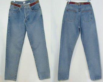 Ralph Lauren 29 /4-6 Soft Faded, 1990s, High Waist, Beaded Belt, Button Fly, Mom Jeans, Straight Leg Jeans ~ 7