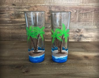 Hand painted Island paradise palm trees shot glass