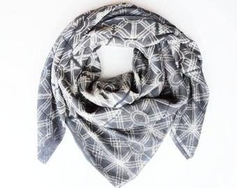 Shibori Silk Oversized Scarf/Shawl - Charcoal Grey/Blue
