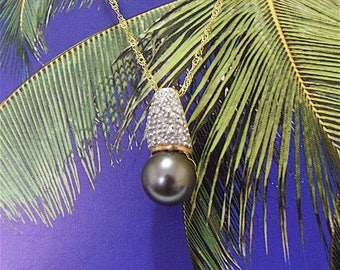 Tahitian Pearl Pendant, 14KT Yellow Gold Tahitian Pearl Pendant With Diamonds, P5015,  Made in Hawaii