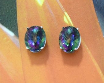 Rainbow Topaz Earring, 14KT White Gold Rainbow Topaz Oval Cut Stud Earring, E5448