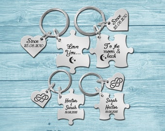 Keychain, Puzzle Keychain Keyring, Couple Keychain, Couple Keyring, Gift for Him Her, 2 Piece Set
