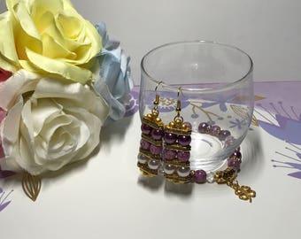 Gold clover bracelet with earrings
