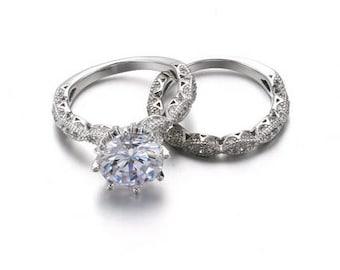 1.5 carat Forever Classic Moissanite and diamond Engagement Ring Set, Diamond Wedding Ring, Bridal Set, Wedding ring Set