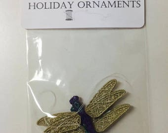 100% Thread Holiday Ornaments, Tree Ornaments, Sewn Tree Embellishments, Embroidered Ornaments, Dragonfly