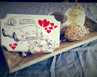 Plate wooden decorative 'Just married'