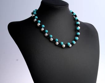 White pearl necklace choker,pearl choker,leather choker,pearl choker necklace,leather pearl necklace,turquoise necklace,blue gemstone choker