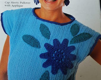 PDF-pattern Crochet - Cap sleeve pullover top with applique/Bust 30-32, 34-36, 38-40 inches