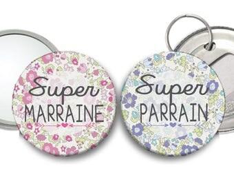 Un miroir Super Marraine liberty rose et un décapsuleur Super Parrain liberty bleu