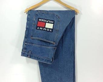 On sale 16% Vintage Tommy Hilfiger jeans Swag 90s Hip Hop Style Big Size Streetwear Rare
