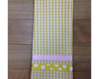 Yellow Checkered KitchenTowel... with soft pink trim!
