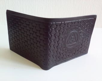 wallet black leather with a triskele