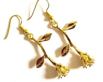 Gold Rose Drop Earrings