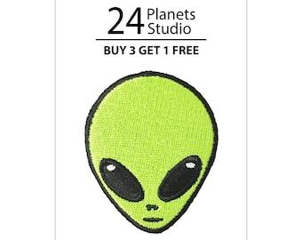 Buy 3 Get 1 Free Alien Head Iron on Patch by 24PlanetsStudio