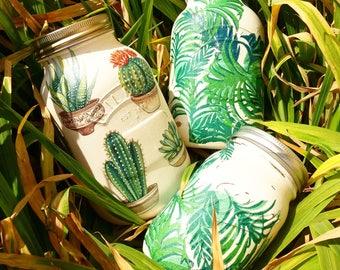 Succulent Cactus Boho Style Mason Jar