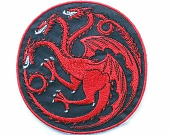 Targaryen Sigil Patch, Game of Thrones, Iron On Patch, Three Headed Dragon, House Targaryen, Fire and Blood, Mother of Dragons, Daenerys