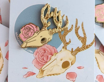 Deer Skull & Rose 30mm Enamel Pin Badge