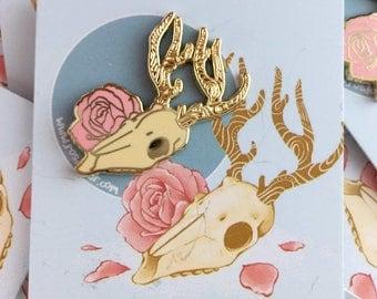 Deer Skull & Rose 30mm Enamel Pin Badge