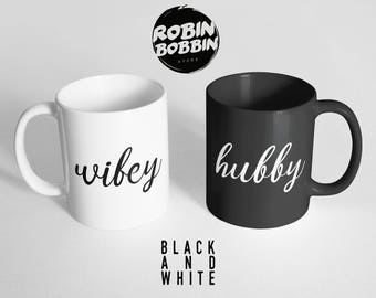 Hubby Wifey Coffee Mugs - Love Mugs, Valentines Day Gift, Gifts For Boyfriend, Gifts For Girlfriend, Newlywed Gift, Bride Groom Husband Wife