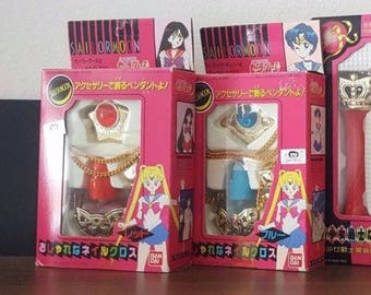 Sailor Moon Nail Pendant / Nail Gloss Figure Bandai - Mars + Mercury VERY RARE