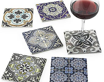 Arasbeque ceramic coasters set of 6 11X11X 0.9 cm