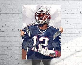 Tom Brady 3 (NEW) New England Patriots - Sports Art Print Poster - Watercolor Abstract Paint Splash - Kids Decor - Gifts for Men - Man Cave