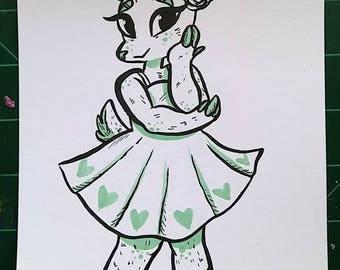 Original Cute Deer Girl Cardstock Illustration