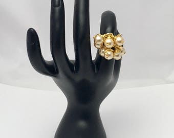 Gold and pearls adjustable ring, coiled ring, hand coiled ring, one of a kind ring