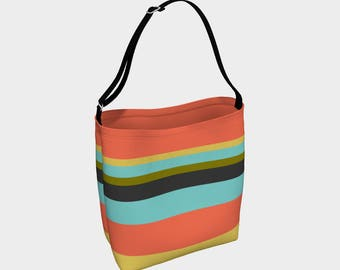 Striped Tote Bag, Orange and Blue Striped Bag, Book Tote, Grocery Bag, Tote Bag, Printed Tote Bag inside and out, Customized Strap