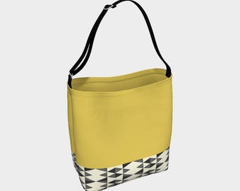 Mustard Tote Bag, Tribal Tote, Book Tote, Grocery Bag, Tote Bag, Printed Tote Bag inside and out, Customized Strap
