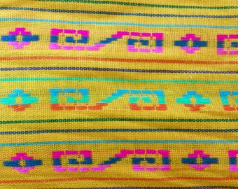 Mustard Cambaya fabric # Y605,Mexican fabric,yellow striped,tablecloth,table runner,ethnic,rebozo,reboso,orange fabric,Mexican fiesta,orange