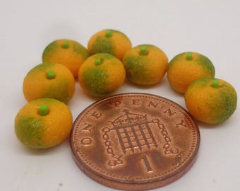 1:12 Scale Oranges x 8 , Tangerine Doll House Miniature Fruit