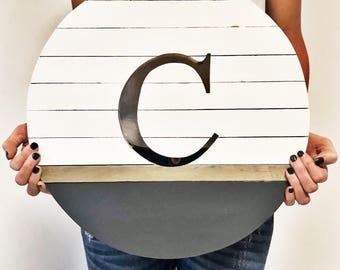 Monogrammed cut out round sign