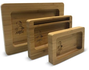 AFG Designed Bamboo Tobacco Rolling Tray (3 sizes) - 4 serving, holding shots, jewelry & more!