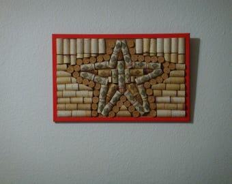 Star cork art, wine cork decor, star, star decor, star wall art, red diamond, cork art, cork board, wine cork art, wine cork, cork frame