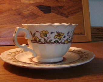 1940's Hibiscus Cup and Saucer by Vernon Kilns California U.S.A.