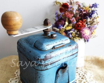 Vintage French Coffee Grinder By Menatechnic Sannois Blue Shimmer Metallic Blue Industrial Style Manual Coffee Grinder Collectible!