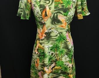 1970's Royal Hawaiian Flutter Sleeve Maxi Dress