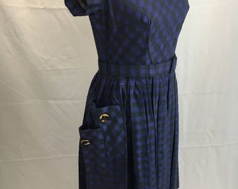 Modern Vintage 50's Dress with Great Button Pockets
