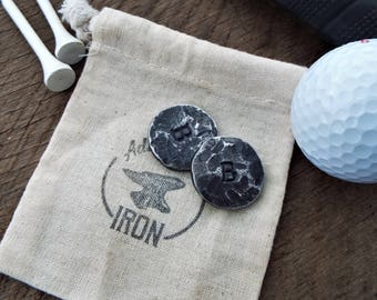 Golf ball markers blacksmith forged. Customized and personalized golf gift. Gift for him Iron anniversary gift for man. 6th anniversary gift