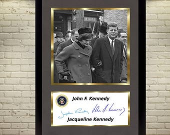 John F Kennedy & Jacqueline Kennedy JFK signed autograph photo picture WITH FRAME