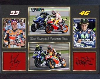 Valentino Rossi Marc Marquez signed autograph photo print Framed