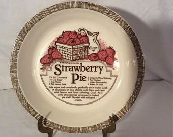 Royal China Co. Strawberry Pie Plate with recipe