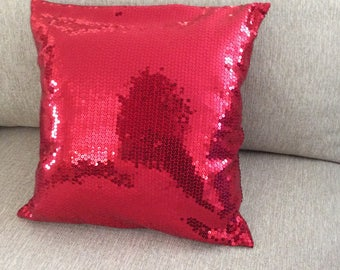 Red Sequin Pillow,4th of July  Throw Pillow, Pillow Cover,Home Decor , Christmas Pillow cover