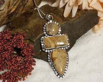 Exceptional picture jasper in sterling silver